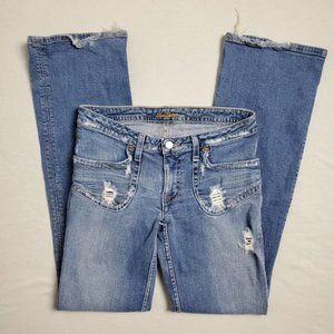 Hudson Distressed Jeans Rips Holes Baby Blue